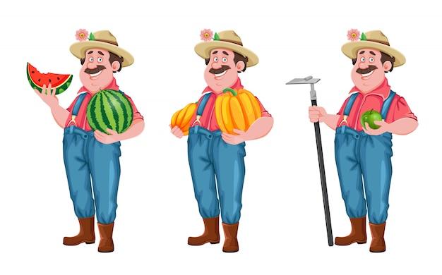 Farmer zeichentrickfigur, satz von drei posen
