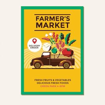Farmers market flyer vorlage mit bauern vintage pickup truck