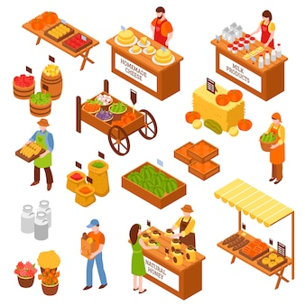 Farmers marketplace isometric set