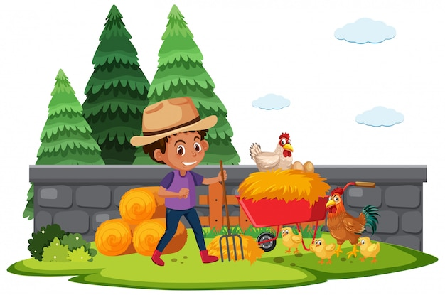 Farmszene mit farmboy, der hühner auf der farm füttert