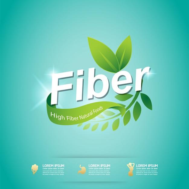 Faser im grünen nahrungsmittelorganischen vektor-konzept-aufkleber
