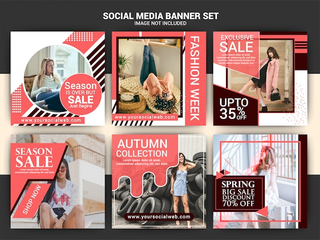 Fashion eleganten beitrag für instagram oder quadrat banner vorlage