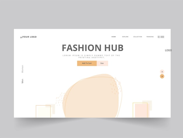 Fashion hub landing page oder web template design in weißer farbe.