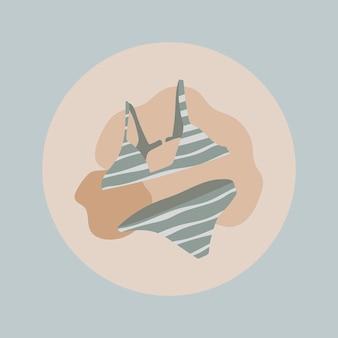 Fashion instagram highlight-symbol, bikini-doodle im erdton-design-vektor