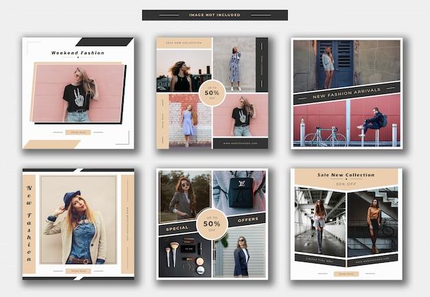 Fashion instagram post template oder quadratische banner sammlung