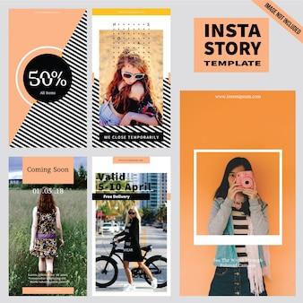 Fashion instagram story template-sammlung