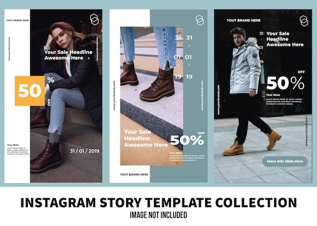Fashion instagram story template-sammlung