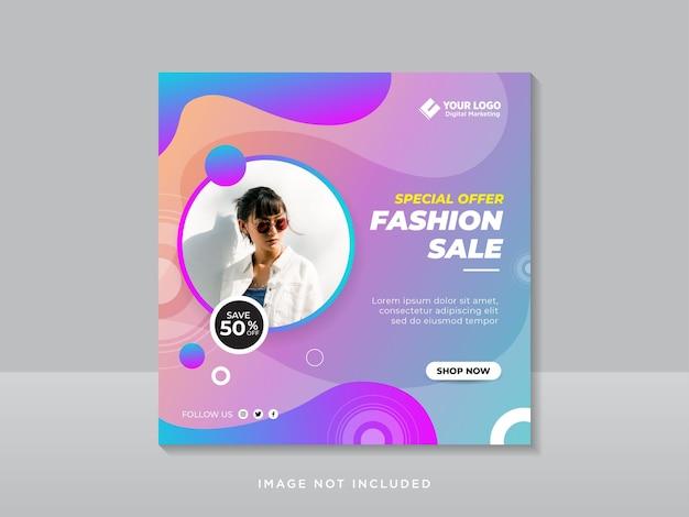Fashion sale banner oder quadratischer flyer für social media post template