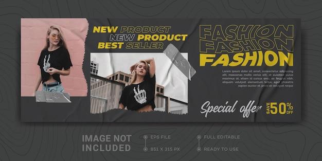 Fashion sale facebook cover banner vorlage business promotion digital marketing streetwear design