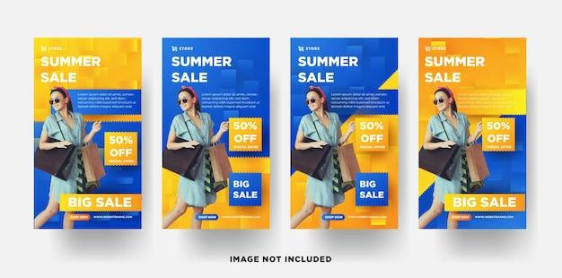 Fashion sale insta story banner sommer mit eleganter gelber 3d-farbe