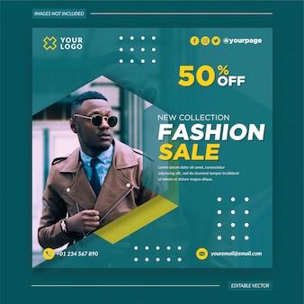Fashion sale instagram post, banner und flyer premium vektor