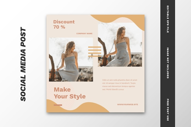 Fashion sale social media post quadratische banner vorlage