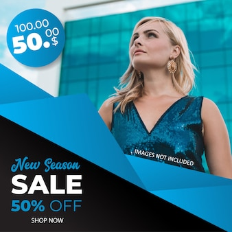 Fashion sale square banner vorlage für instagram post