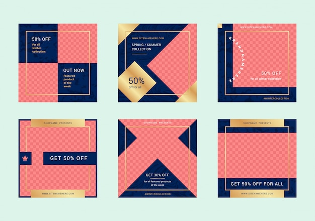 Fashion-sale-web-banner für mobile apps in sozialen medien. rabatt promo-layouts für ihre website, blog und social-media-beiträge