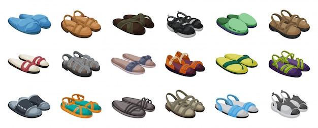 Fashion sandale vektor-illustration reihe auf weißen hintergrund