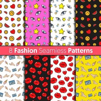 Fashion seamless patterns set. herzen, lippen, augen, sterne und emoticons modehintergründe im retro-comic-stil