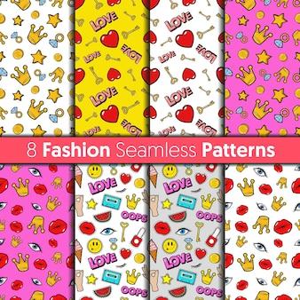 Fashion seamless patterns set