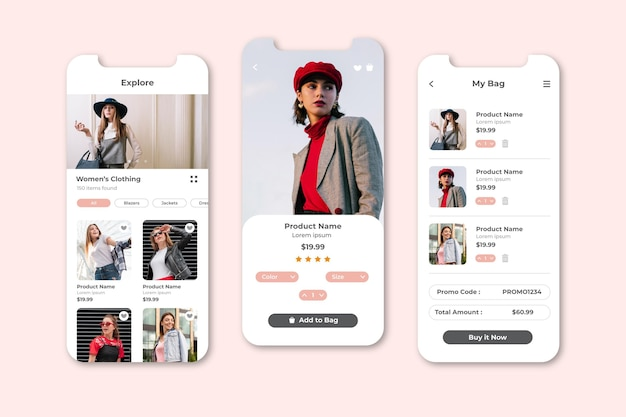 Fashion shopping app bildschirme