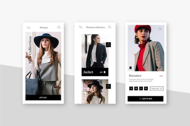 Fashion shopping app oberfläche