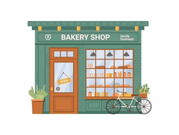 Fassade der bäckerei konditorei lebensmittel brot