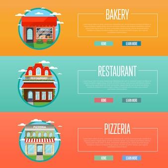 Fassade der pizzeria, der bäckerei und der restaurantfahnen