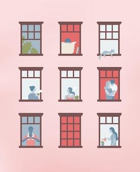 Fassade des gebäudes mit geöffneten fenstern und menschen, die darin leben. männer und frauen trinken tee, lesen zeitung, gießen pflanzen in ihren wohnungen. nachbarn und nachbarschaft. vektor-illustration