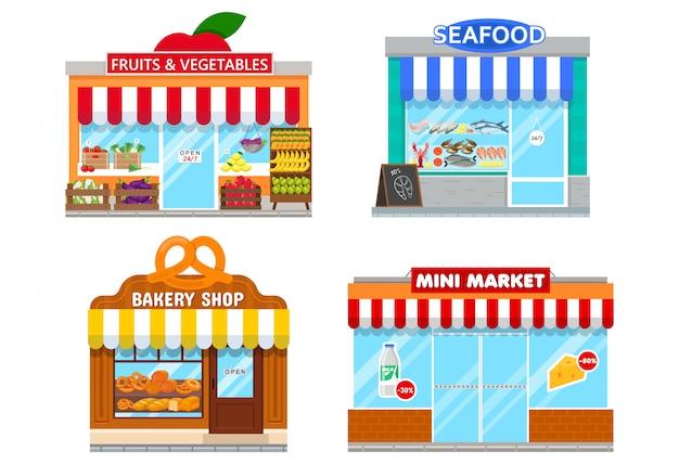 Fassaden von mini-läden
