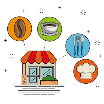 Fassadenrestaurant cartoon