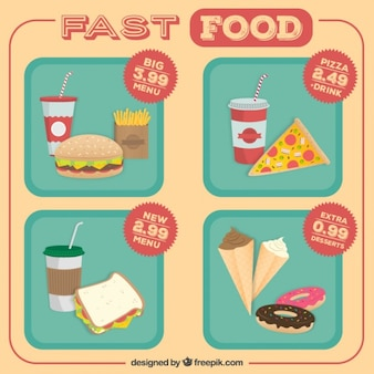 Fast food angebot menu