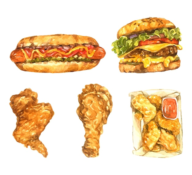 Fast-food-aquarellpackung