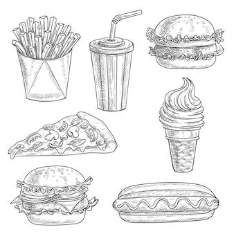 Fast-food-bleistift-skizze snacks