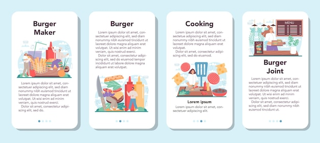 Fast food burger haus mobile app banner set koch