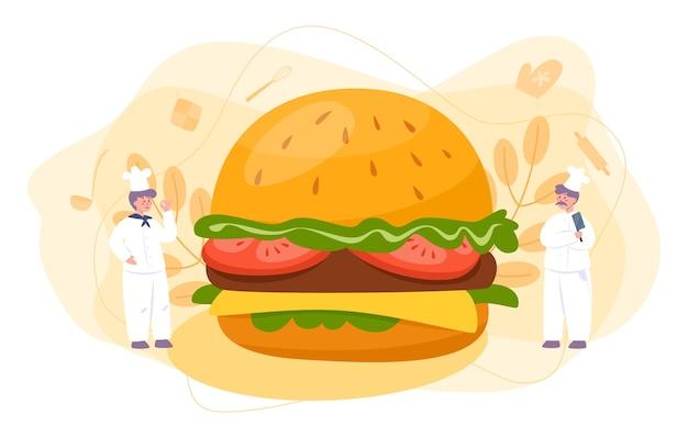 Fast food, burger house konzept. chefkoch kochen leckeren hamburger mit käse, tomaten und rindfleisch zwischen leckeren brötchen. fastfood-restaurant. isolierte flache vektorillustration