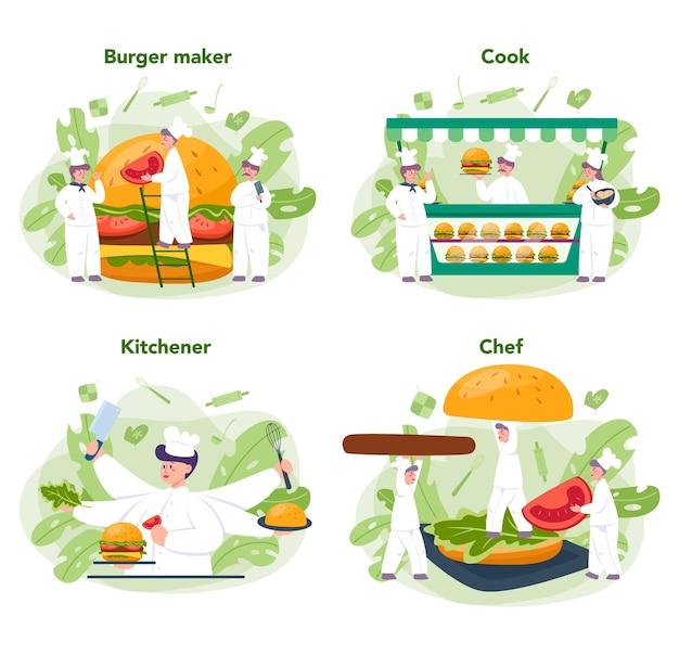 Fast food, burger house konzept gesetzt. chefkoch kochen leckeren hamburger mit käse, tomaten und rindfleisch zwischen leckeren brötchen. fastfood-restaurant.