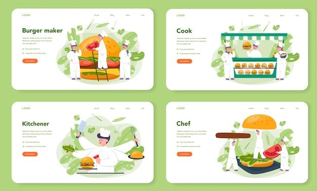 Fast food, burger house web banner oder landing page set. chefkoch kochen leckeren hamburger mit käse, tomaten und rindfleisch zwischen leckeren brötchen. fastfood-restaurant. isolierte flache vektorillustration