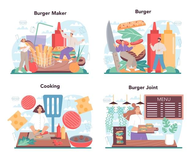 Fast food, burgerhaus-konzeptsatz. chefkoch kocht leckeren hamburger