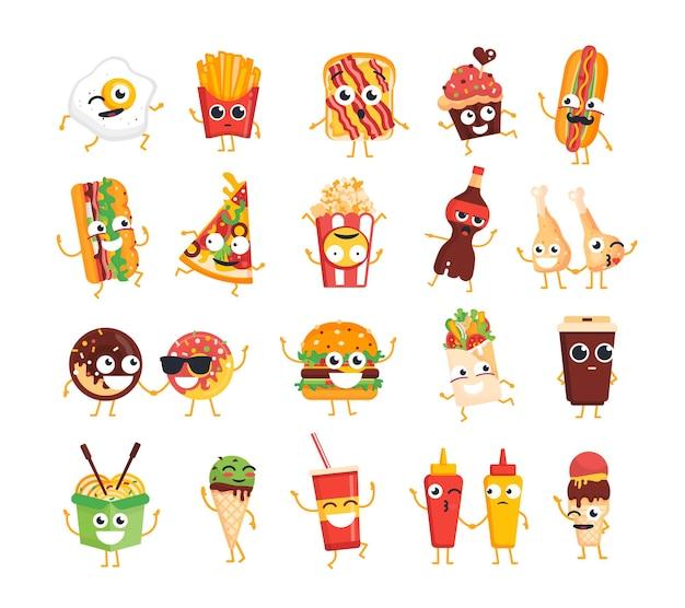 Fast food characters moderne vektorschablonensatz von maskottchenillustrationen
