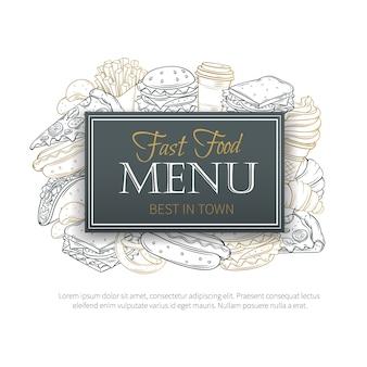 Fast food dekoratives nahtloses muster. hand gezeichneter fast-food-hintergrund.