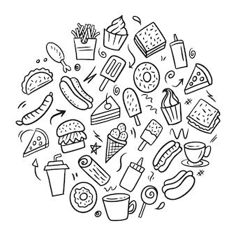 Fast food doodle handgezeichnete runde form konzept, handgemachte strichzeichnungen. speisekarte restaurant
