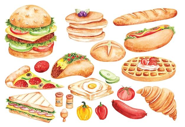 Fast-food-doodle im aquarellstil