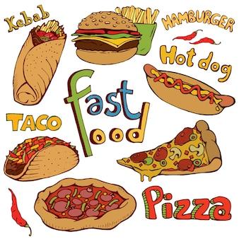 Fast-food-doodle. lokalisierte hand gezeichnete vektorillustration