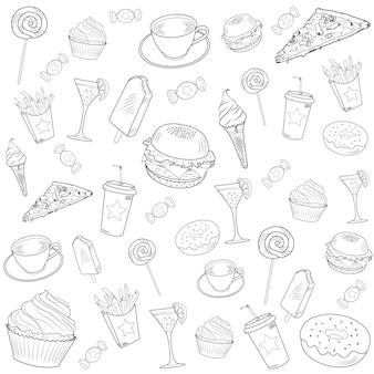 Fast-food-doodle-set