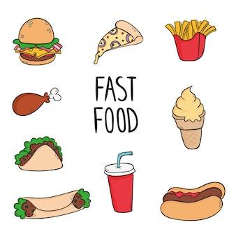 Fast-food-elemente sammlung in hand zeichnen stil