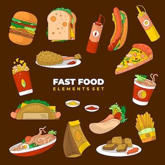 Fast-food-elemente-vektor-hintergrund