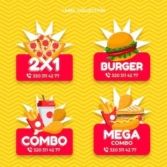 Fast-food-etiketten im flachen design