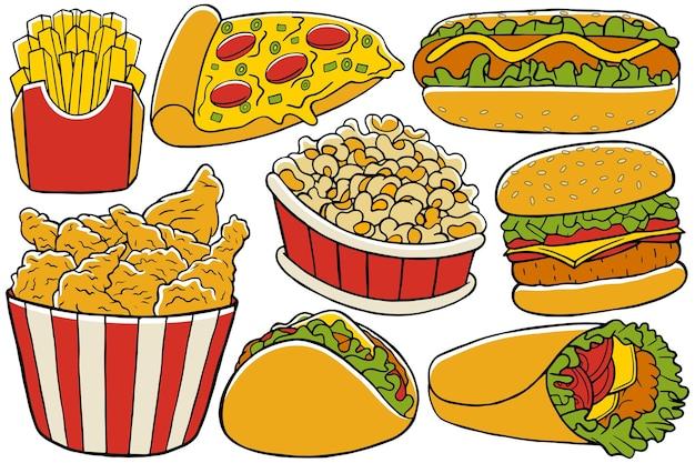 Fast-food-gekritzel im handgezeichneten design-stil