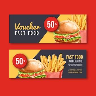 Fast-food-geschenkgutschein rabatt bestellen menü vorspeise essen