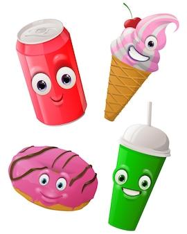 Fast food gesichter masken mit mund und augen von aliens emoticon
