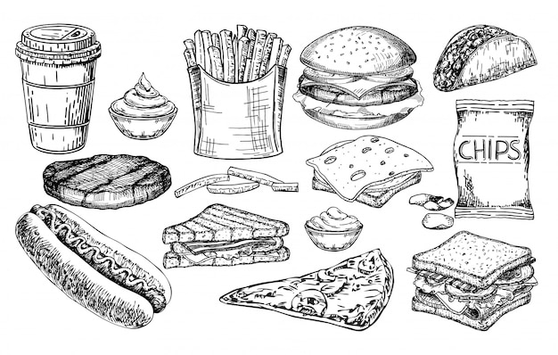 Fast food großes set. junk-food-illustrationsskizzensatz. menüpunkte des fast-food-restaurants.