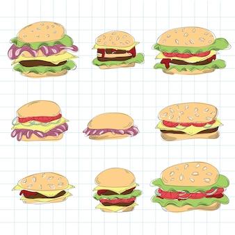 Fast-food-hamburger-doodle-set - vektor-illustration